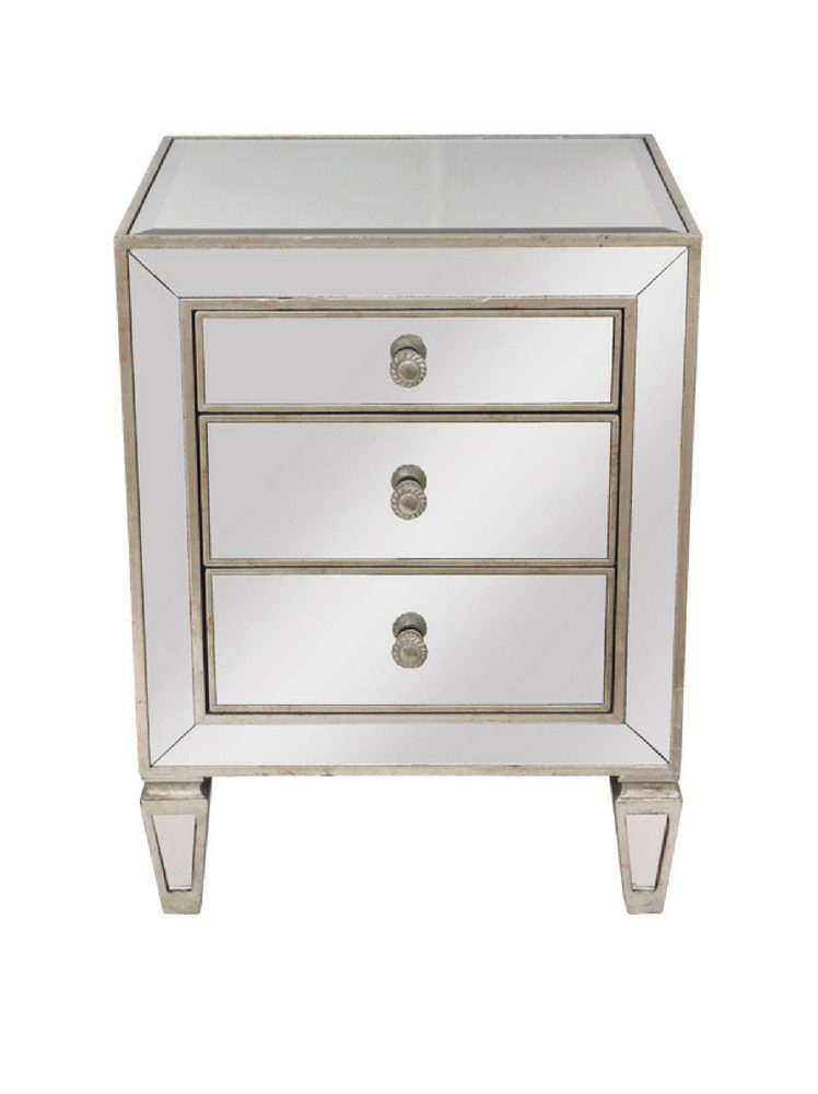 Mirrored Bedside Table With Drawers: Mirrored 3 Drawer Bedside Table